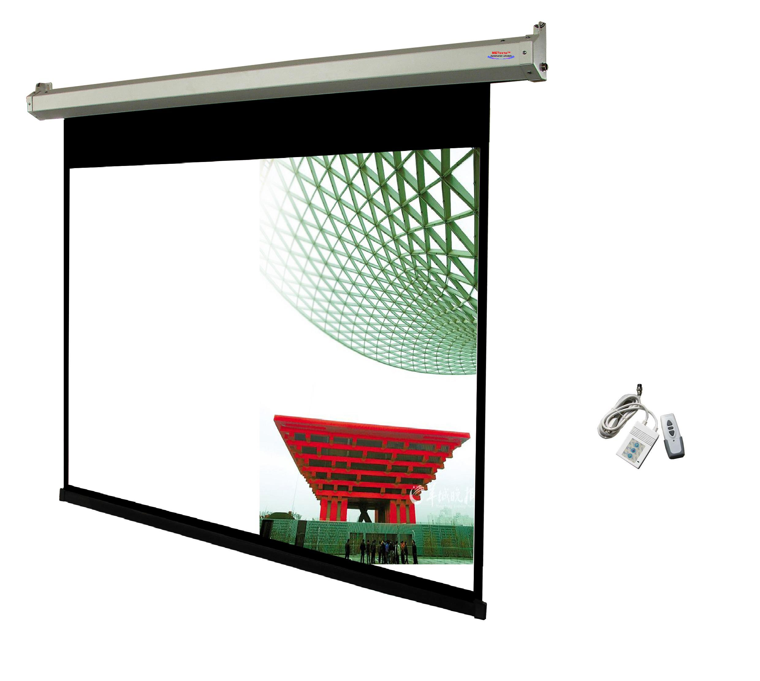 100 4 3 motorized electric projector screen me43e 100w for Motorized drop down projector screen